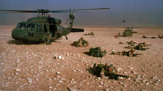 American Army 101st Airborne Division helicopter, ground war, desert storm, Persian Gulf war troops allies