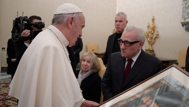Pope Francis during a meeting with US director Martin Scorsese, on November 30, 2016 at the Vatican.