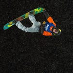 Matt Ladley scores a 82.33 on his first run for the gold medal after the event was canceled after the run because of heavy snow during the men's snowboarding superpipe on the third day of the X Games on Saturday, Jan. 30, 2016, at Buttermilk Mountain in Aspen, Colo.