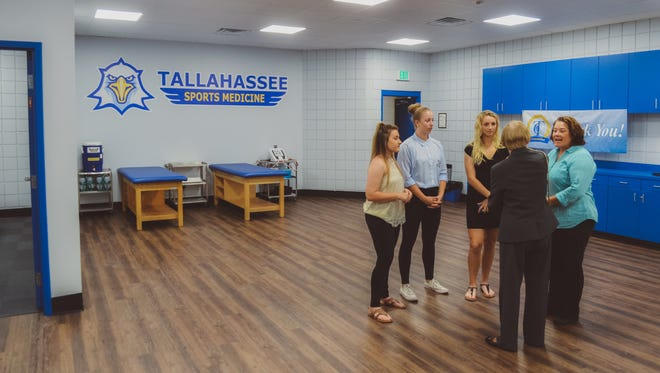 TCC's new athletic training room includes an office for the head trainer and other new equipment. It's also twice the size of the old training room.
