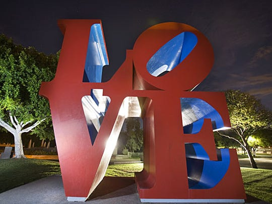 "These giant ""LOVE"" letters are between the Civic Center Library and the Scottsdale Center for the Performing Arts."