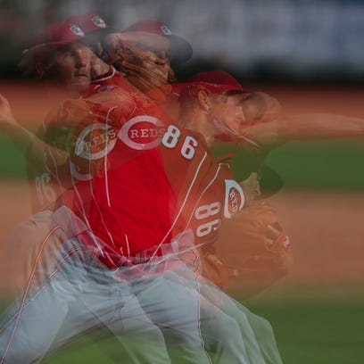 Cincinnati Reds pitcher Layne Somsen (86) delivers to the plate in the eighth inning during the Cactus League game between the Cleveland Indians and Cincinnati Reds, Thursday, March 3, 2016, at Goodyear Ballpark, in Goodyear, Arizona. The Reds defeated the Indians 9-1.