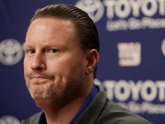 New York Giants head coach Ben McAdoo speaks at a news conference after an NFL football game between the Oakland Raiders and the Giants in Oakland, Calif., Sunday, Dec. 3, 2017. (AP Photo/Marcio Jose Sanchez)