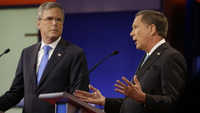 Jeb Bush and John Kasich, Republican debate in Des Moines, Jan. 28, 2016.