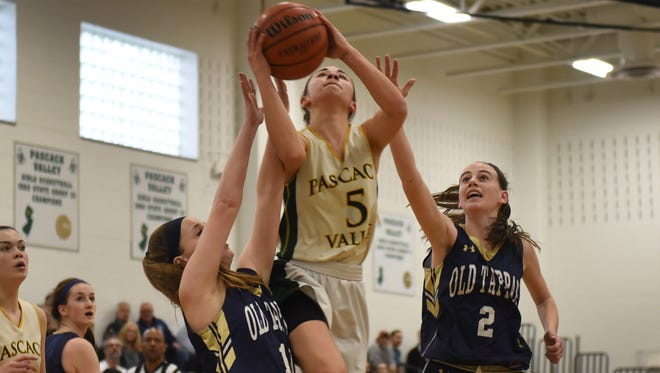Brianna Wong goes to the rim for a basket in No. 1 Pascack Valley's 70-42 win over No. 11 NV/Old Tappan in the North 1, Group 3 final on Tuesday.