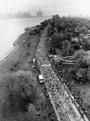 Aerial view of the start of the first Detroit Free Press International Marathon in Windsor on Oct. 22, 1978. The Renaissance Center can be seen in through the mist on the opposite side of the Detroit River.