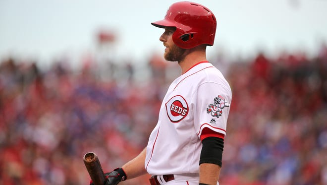 Cincinnati Reds shortstop Zack Cozart (2) gets set for an bat in the first inning during the National League baseball game between the Chicago Cubs and the Cincinnati Reds on June 30, 2017 at Great American Ball Park.