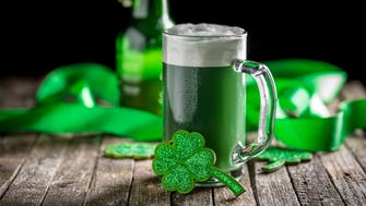 St. Patrick's Day concept green beer with shamrock