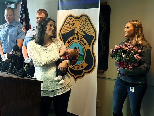 Christina McCaffery thanks dispatcher Amanda Huenink