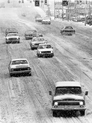 Union Avenue was covered in snow as traffic crawled along on Jan. 12, 1978, as evidenced by this view looking west from the pedestrian overpass east of Bellevue.