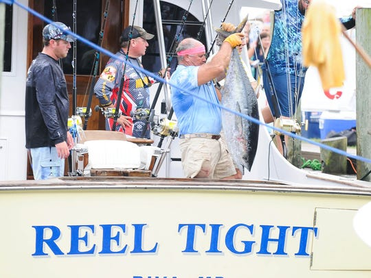 Reel Tight of Riva, Md. brings in a 64lb Tuna to be