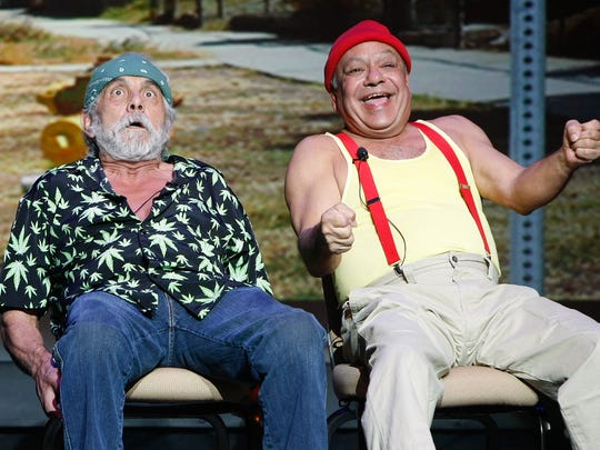 Tommy Chong (L) and Cheech Marin of the comedy duo Cheech & Chong perform at The Pearl concert theater at the Palms Casino Resort October 18, 2008 in Las Vegas, Nevada.