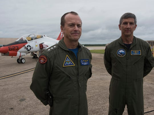Vice Adm. Mike Shoemaker, left, and Rear Adm. James