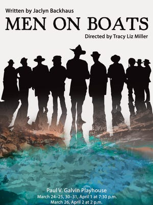 """Poster art for Arizona State University's production of """"Men on Boats,"""" a play about 19th-century explorers performed by a cast of women."""