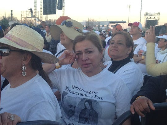 Lorenza Najera at the Mass with Pope Francis in Juarez,