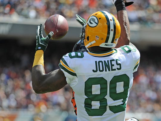 Packers receiver James Jones (89) catches a touchdown