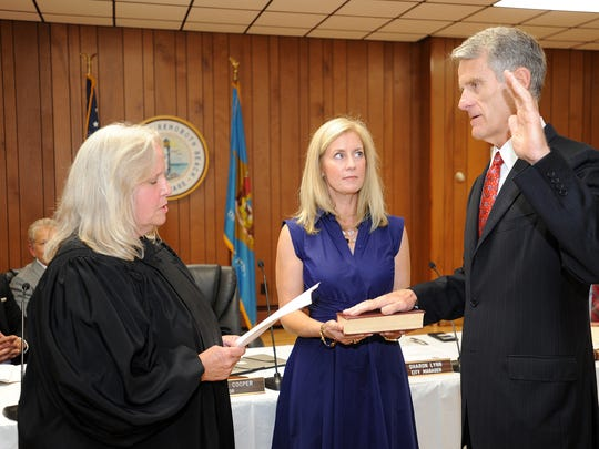 A large crowd was on hand to welcome Paul Kuhns, who was sworn in Friday, Sept. 15 as Rehoboth Beach's new mayor. Kuhns replaced Sam Cooper who was defeated in the August election after holding the office for 27 years. Incumbent, re-elected Commissioner Kathy McGuiness and newcomer Lisa Schlosser were also sworn into office.