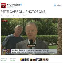 Seahawks head coach Pete Carroll photobombs a live shot
