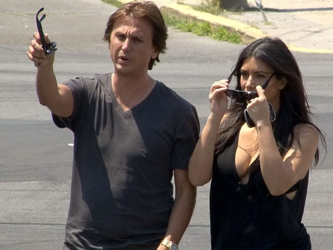 Kim Kardashian and her friend and publicist Jonathan Cheban arrive at the Seaside Heights, NJ, boardwalk Tuesday afternoon, July 8, 2014.