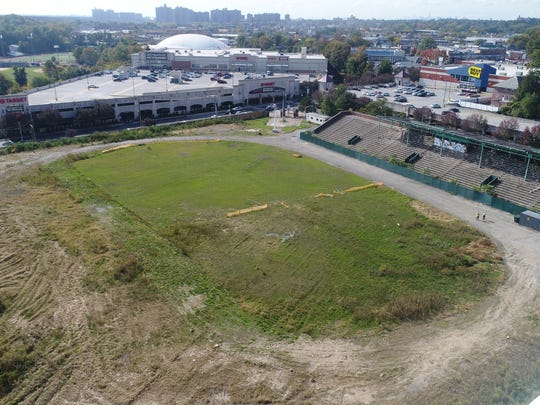 Memorial Field in Mount Vernon as seen from a drone on Oct. 23, 2017.