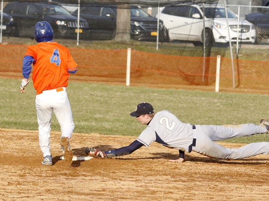 Notre Dame shortstop Matt Smith dives to second base