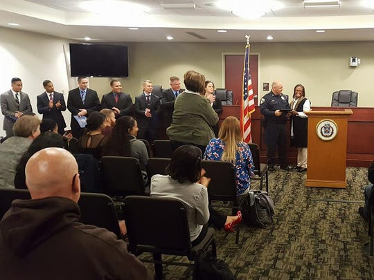 York Mayor Kim Bracey announced that Chief Wes Kahley is retiring. He was recognized during a swearing-in ceremony for seven new probationary officers.