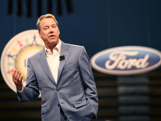 Executive Chairman of Ford, Bill Ford Jr., speaks during the Ford and UAW  official start of contract talks gathering at Cass Tech High School in Detroit on Thursday, July 23, 2015.