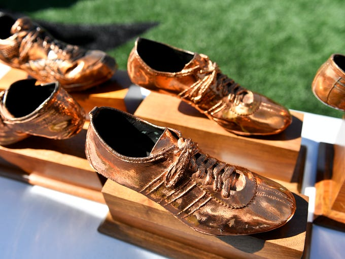 Trophies for the 59th annual Herb Schmidt Relays are