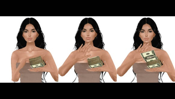 In one GIF, Kim throws bills with her face on them.
