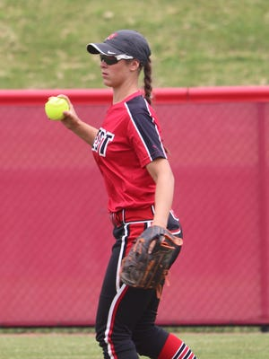 Lakota West shortstop Allie Cummins hauls in the relay throw during the second inning of the Division I state championship game at Firestone Stadium in Akron Saturday June 2, 2018.