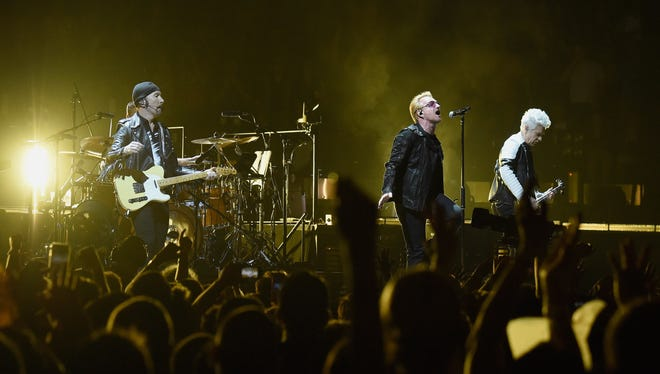 The Edge, Larry Mullen Jr., Bono and Adam Clayton perform at Madison Square Garden on July 26, 2015.