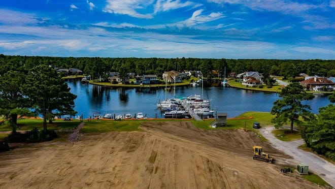 A drone shot taken by Bob Dumon shows the current state of the property where the Shoreline Clubhouse once stood.