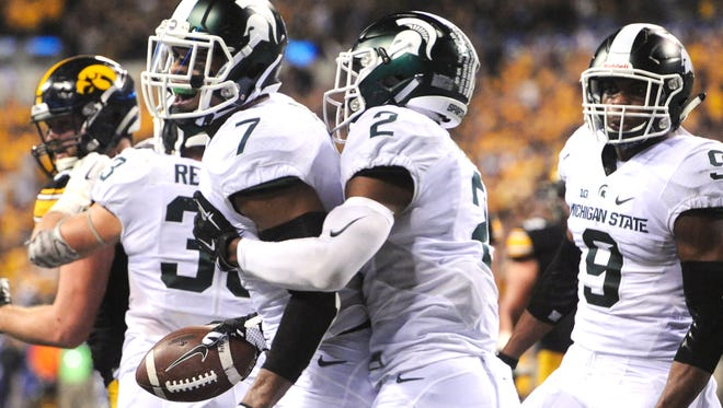 Demetrious Cox (7), Darian Hicks (2) and Montae Nicholson (9) return for MSU's secondary after the Spartans allowed opponents to pass for 233.9 yards per game a year ago.