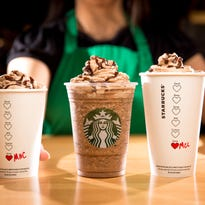 From left, the Molten Hot Chocolate, Molten Chocolate Frappuccino Blended Beverage, and Molten Chocolate Latte are shown.
