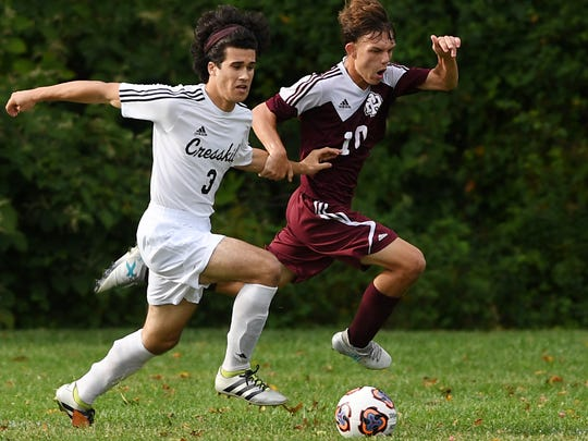 Park Ridge at Cresskill in boys soccer on Wednesday, September 20, 2017.  (right) PR #10 Nardi Lita battles with C #3 Patrick Centino.