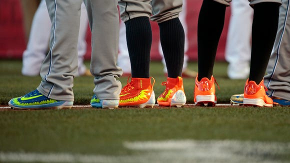 Various shoes worn by All-Stars on Tuesday night.