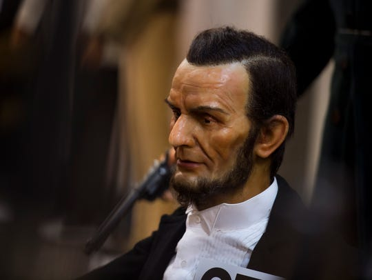 A life-size wax figure of President Abraham Lincoln