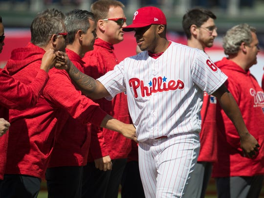Phillies' Edubray Ramos enters the field during player introductions at the Phillies home opener at Citizens Bank Park.
