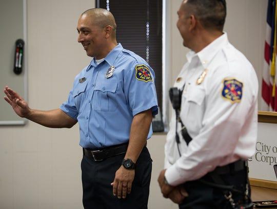 Corpus Christi Firefighter II EMS Michael Macias (left)