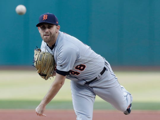 Detroit Tigers starting pitcher Matthew Boyd delivers in the first inning of a baseball game against the Cleveland Indians, Tuesday, April 10, 2018, in Cleveland. (AP Photo/Tony Dejak)