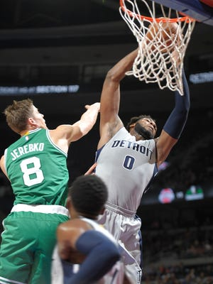 Pistons center Andre Drummond (0) will compete in the Slam Dunk Contest on Feb. 13 in Toronto.