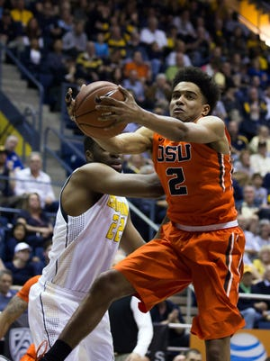 Oregon State guard Stephen Thompson Jr. is averaging 10.7 points with a team-high 43 3-pointers.