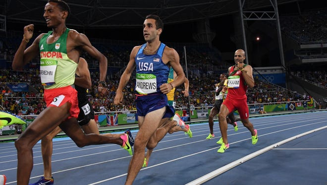 American Robby Andrews of Manalapan (center) races in the men's 1,500-meter semifinals Thursday in the Rio 2016 Summer Olympic Games at Estadio Olimpico Joao Havelange.
