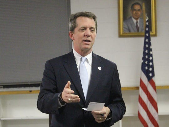 State Rep. James Smith, who is running for governor, spoke at the Anderson County Democratic Party convention Tuesday night.