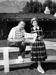Walt and Lily Disney designing their second home on