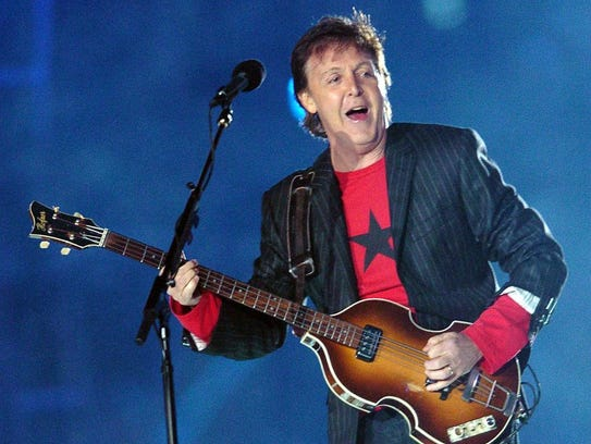 British rock legend Paul McCartney performs at halftime