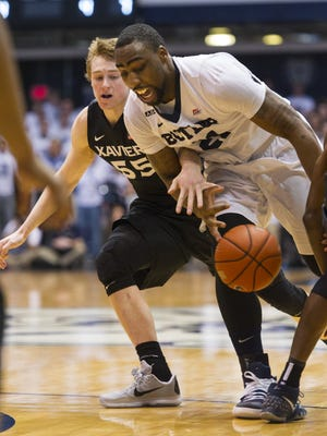 Butler Bulldogs forward Roosevelt Jones (21) looses control of the ball en route to the basket during the first half of a NCAA men's basketball game at Butler University's Hinkle Fieldhouse, Saturday, Feb. 13, 2016.