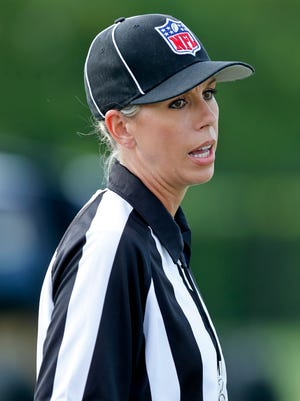 Sarah Thomas during a scrimmage for the New Orleans Saints at the team training facility.