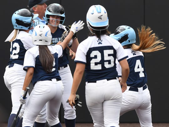 Immaculate Conception vs. Robbinsville in the Tournament of Champions semifinals at Seton Hall University on Wednesday, June 6, 2018. IC #10 Jaden Farhat celebrates after scoring on an error and driving in three runs.