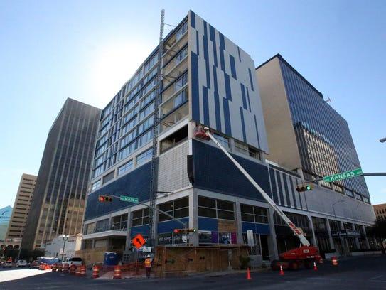 The Hotel Indigo at the corner of Kansas and Main streets